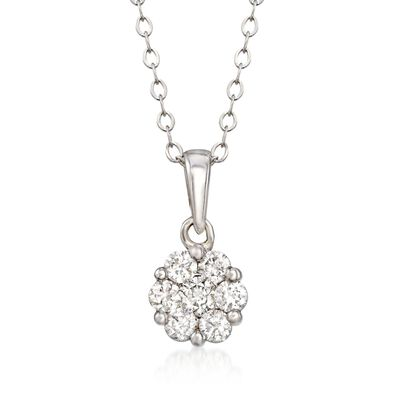 .34 ct. t.w. Diamond Floral Cluster Pendant Necklace in 14kt White Gold, , default