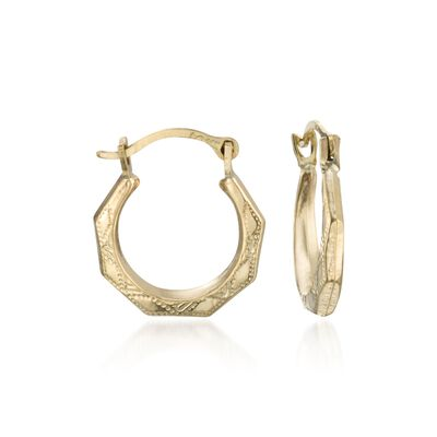 Child's 14kt Yellow Gold Faceted Hoop Earrings, , default