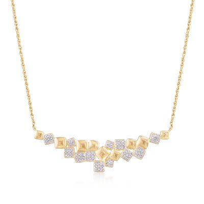 .25 ct. t.w. Pave Diamond Multi-Square Necklace in 18kt Gold Over Sterling