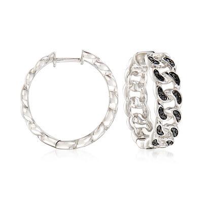 .20 ct. t.w. Black Spinel Link Hoop Earrings in Sterling Silver
