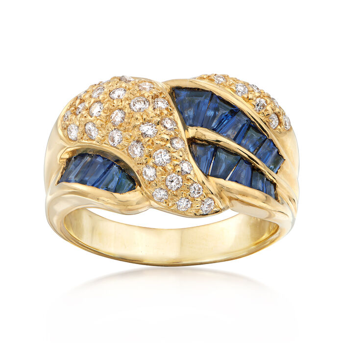 C.1990 Vintage 1.24 ct. t.w. Sapphire and .41 ct. t.w. Diamond Crossover Ring in 18kt Yellow Gold. Size 6.5, , default