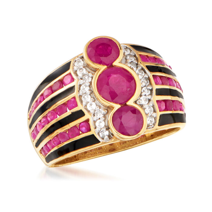 2.40 ct. t.w. Ruby and .10 ct. t.w. White Zircon Ring with Black Enamel in 18kt Gold Over Sterling