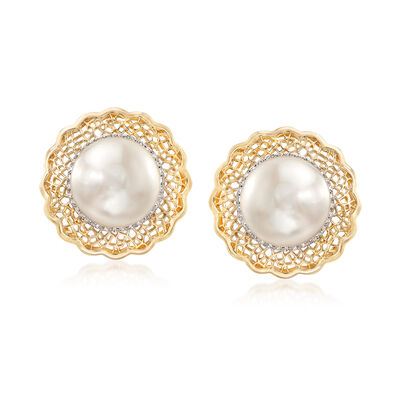 10-10.5mm Cultured Freshwater Pearl Earrings with .19 ct. t.w. Diamonds and Filigree in 14kt Yellow Gold, , default