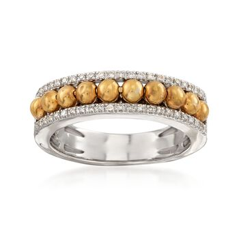 .13 ct. t.w. Diamond Beaded Ring in 14kt Two-Tone Gold, , default