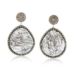 70.00 ct. t.w. Tourmalinated Quartz and 1.25 ct. t.w. Diamond Earrings in Sterling Silver, , default