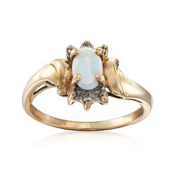 C. 1990 Vintage Opal Ring With Diamond Accents in 10kt Yellow Gold. Size 5, , default