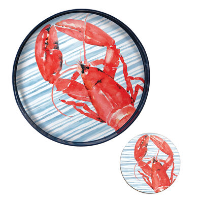 Red Lobster Tray and Set of 4 Coasters