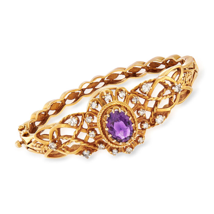 "C. 1970 Vintage 2.65 Carat Amethyst and .85 ct. t.w. Diamond Bangle in 14kt Yellow Gold. 7"", , default"