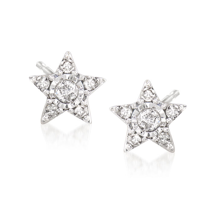 Star Earrings with Diamond Accents in 14kt White Gold, , default