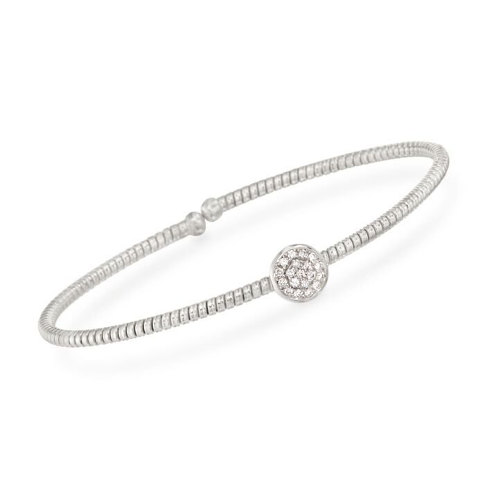 Simon G. .15 ct. t.w. Diamond Circle Bracelet in 18kt White Gold. 7""