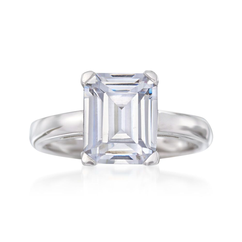 1ba237eee1667 4.00 Carat Emerald-Cut CZ Solitaire Ring in Sterling Silver
