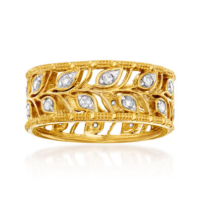 .50 ct. t.w. Diamond Open-Space Leaf Eternity Band in 18kt Gold Over Sterling