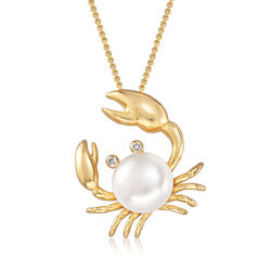 "9mm Cultured Pearl Crab Pendant Necklace With Diamond Accents in 14kt Gold Over Sterling. 18"", , default"