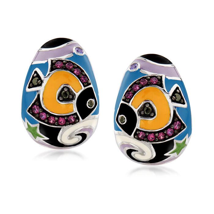 "Belle Etoile ""Under the Sea"" Multicolored Enamel and .41 ct. t.w. CZ Hoop Earrings in Sterling Silver. 5/8"", , default"