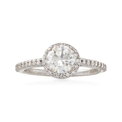 C. 2000 Vintage 1.37 Diamond Halo 14kt White Gold Engagement Ring, , default