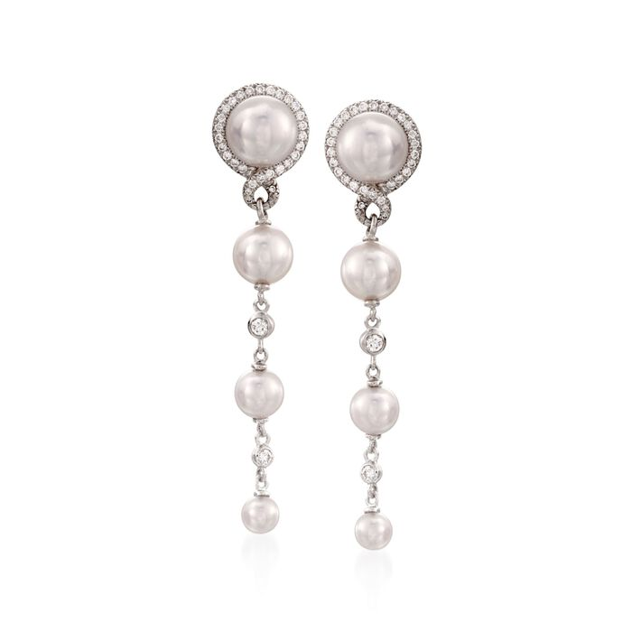 Mikimoto 4-7mm Akoya Pearl and .29 ct. t.w. Diamond Drop Earrings in 18kt White Gold, , default