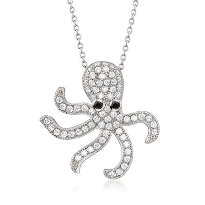 2.10 ct. t.w. CZ Octopus Pendant Necklace in Sterling Silver, , default