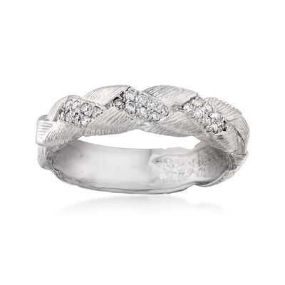 .12 ct. t.w. Diamond Braid Ring in 14kt White Gold, , default