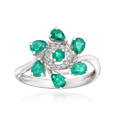 .90 ct. t.w. Emerald and Diamond-Accented Ring in 18kt White Gold