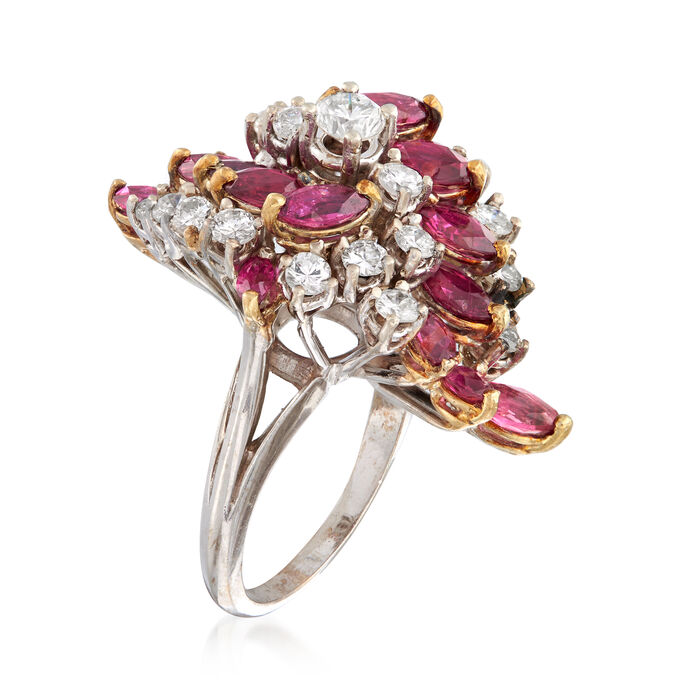 C. 1970 Vintage 2.50 ct. t.w. Ruby and 1.35 ct. t.w. Diamond Cocktail Ring in 14kt White Gold