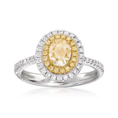 1.40 ct. t.w. Yellow and White Diamond Ring in 18kt Two-Tone Gold