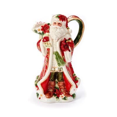 "Fitz and Floyd ""Cardinal"" Christmas Santa Pitcher, , default"