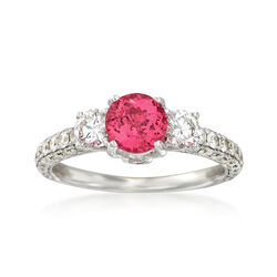 C. 2000 Vintage 1.46 ct. t.w. Diamond and Pink Spinel Engagement Ring in 18kt White Gold, , default