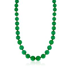 7-14mm Jade Bead Necklace in 14kt Yellow Gold, , default