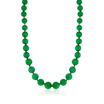 "7-14mm Jade Bead Necklace in 14kt Yellow Gold. 36"", , default"