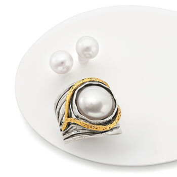 11.5-12mm Cultured Pearl Openwork Ring in Sterling Silver and 14kt Yellow Gold, , default