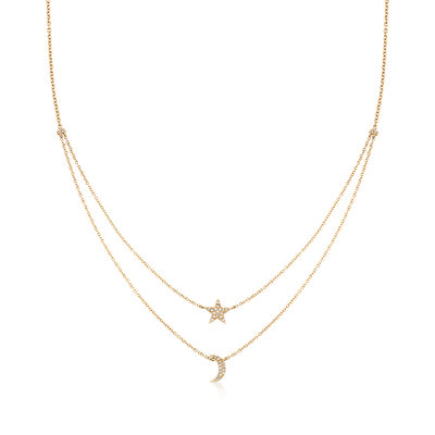 .14 ct. t.w. Diamond Star and Moon Double-Layer Necklace, , default