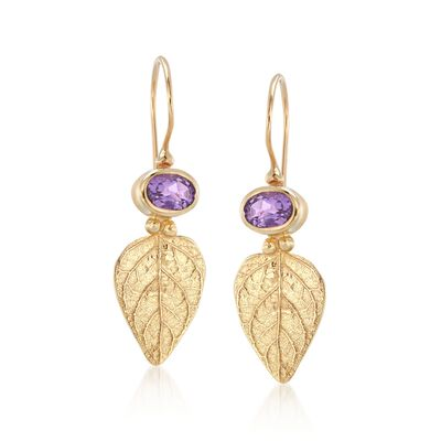 .90 ct. t.w. Amethyst Leaf Earrings in 14kt Yellow Gold , , default