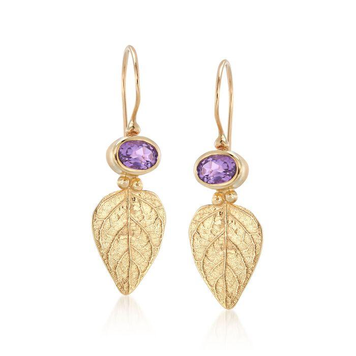 .90 ct. t.w. Amethyst Leaf Earrings in 14kt Yellow Gold., , default