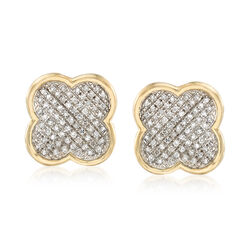 .19 ct. t.w. Diamond Clover Earrings in 14kt Yellow Gold, , default