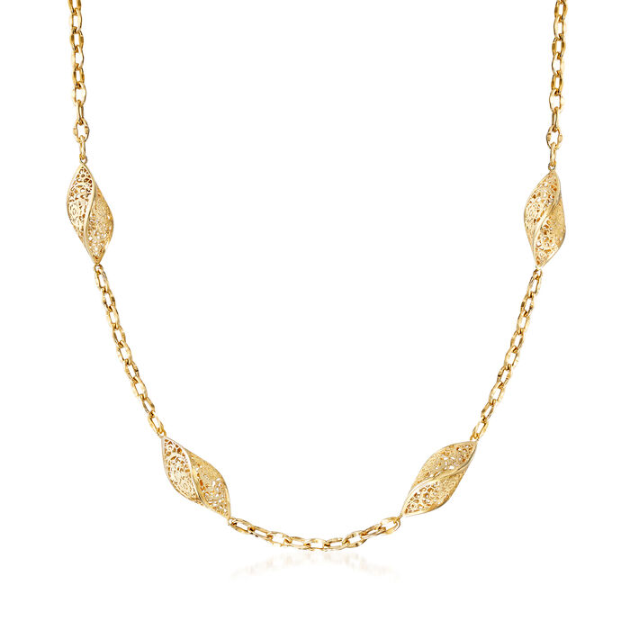 Italian 14kt Yellow Gold Long Twisted Lace Station Necklace