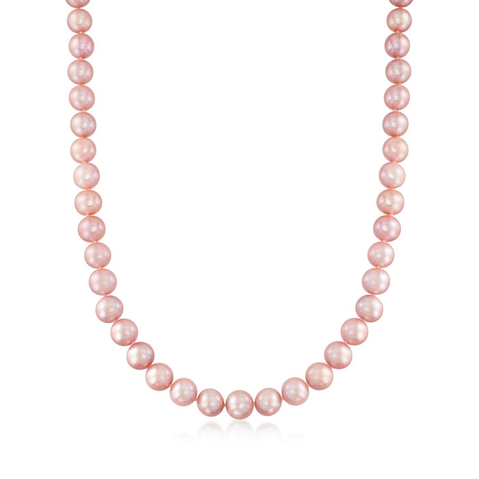 10-11mm Pink Cultured Pearl Necklace with 14kt Yellow Gold, , default