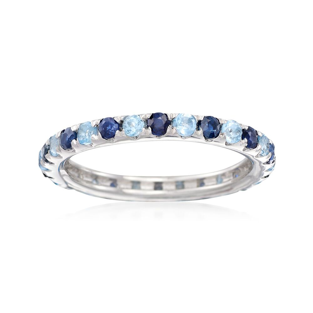 2a8bd8cb4f4ec .60 ct. t.w. Sapphire and .50 ct. t.w. Blue Topaz Eternity Band in Sterling  Silver
