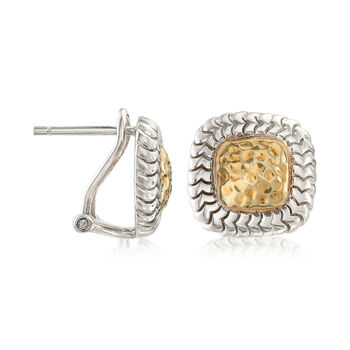 Sterling Silver and 14kt Yellow Gold Square Earrings
