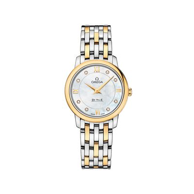 Omega De Ville Prestige Women's 27.4mm Stainless Steel and 18kt Gold Watch With Diamonds - Mother-Of-Pearl Dial, , default