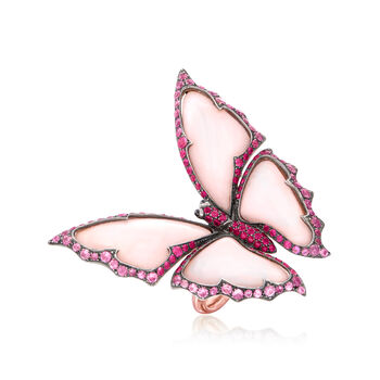 C. 1980 Vintage Mother-Of-Pearl and 2.70 ct. t.w. Ruby Butterfly Ring with Black Sapphire Accents in 18kt Rose Gold. Size 6.5, , default