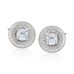 1.45 ct. t.w. CZ Jewelry Set: Stud Earrings and Earring Jackets in Sterling Silver, , default