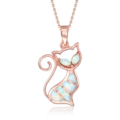 Synthetic Opal Cat Pendant Necklace in 18kt Rose Gold Over Sterling Silver, , default