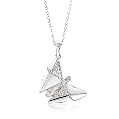 Sterling Silver Butterfly Pendant Necklace with Diamond Accents, , default