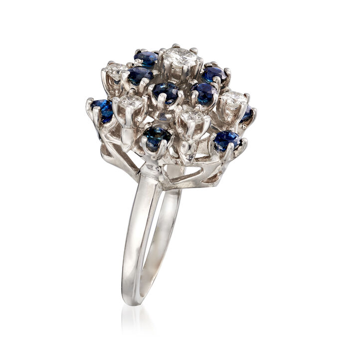 C. 1970 Vintage 1.30 ct. t.w. Sapphire and .75 ct. t.w. Diamond Cluster Ring in 14kt White Gold