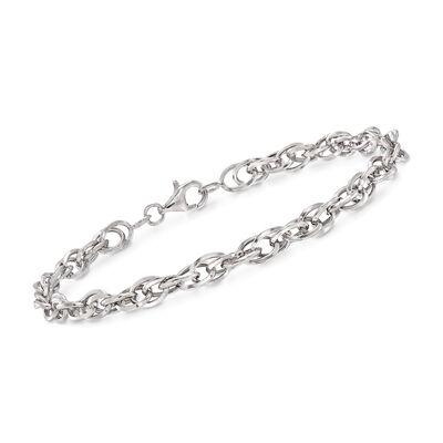 14kt White Gold Double Oval Interlocking Link Bracelet, , default