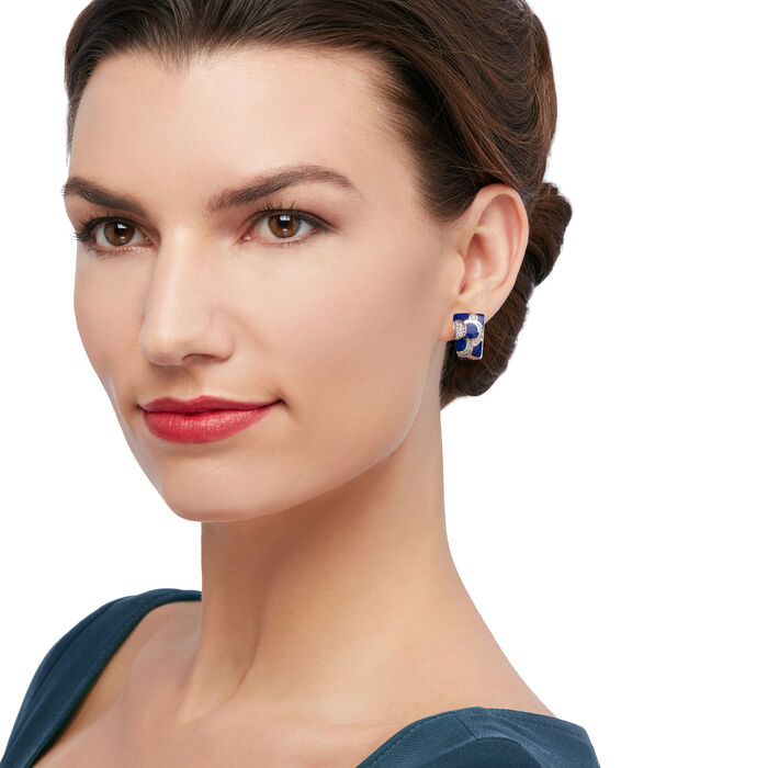 "Belle Etoile ""Adina"" Lapis and .35 ct. t.w. CZ Hoop Earrings in Sterling Silver"