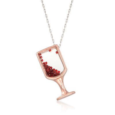 .40 ct. t.w. Garnet Wine Glass Pendant Necklace in 14kt Two-Tone Gold, , default