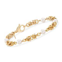"""6mm Cultured Pearl and 18kt Gold Over Sterling Byzantine Station Bracelet. 7.25"""", , default"""