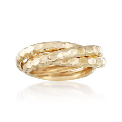 14kt Yellow Gold Faceted Rolling Ring, , default