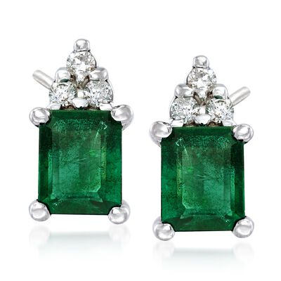 .90 ct. t.w. Emerald Earrings with Diamond Accents in 14kt White Gold, , default